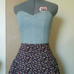 Lucca Couture Strapless Polka Dot and Floral Dress